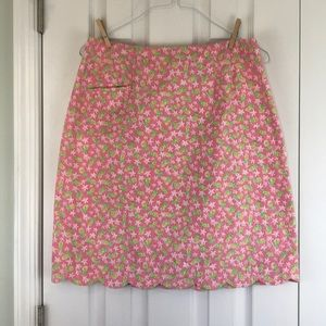 Lilly Pulitzer scalloped skirt pink green size 12